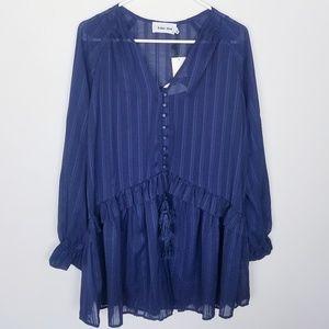 Revolve Dot & Line Babydoll Long Sleeve Dress